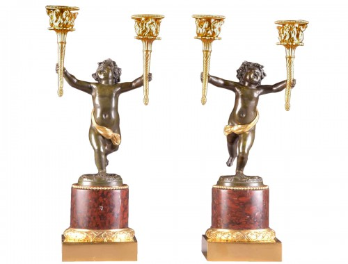 Pair Empire candlesticks with putti