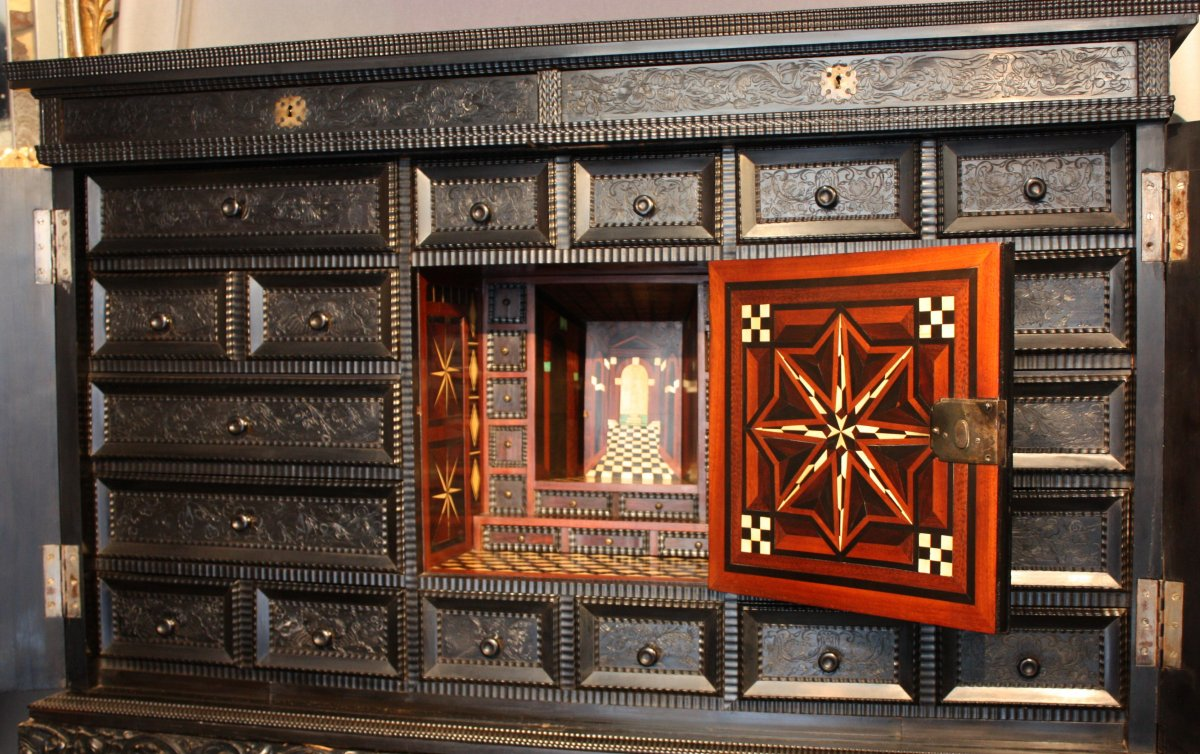 French ebony and ebonized wood cabinet paris first half for 17th century french cuisine