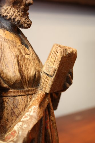 Saint Paul in oak with remains of polychromy, Flanders 15th century - Middle age