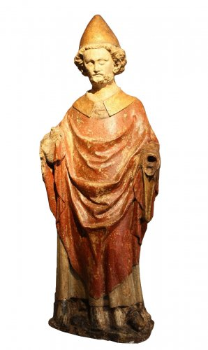 A carved stone statue of st Peter, Lorraine (France) late 13th early 14th century