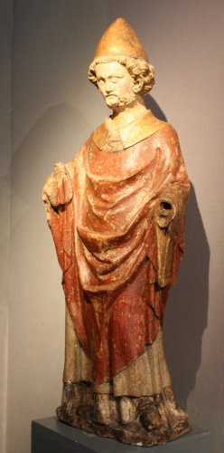 A carved stone statue of st Peter, Lorraine (France) late 13th early 14th century - Sculpture Style Middle age