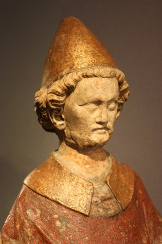 A carved stone statue of st Peter, Lorraine (France) late 13th early 14th century -