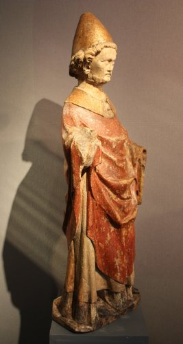 16th century - A carved stone statue of st Peter, Lorraine (France) late 13th early 14th century