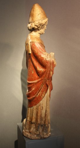 A carved stone statue of st Peter, Lorraine (France) late 13th early 14th century - Middle age
