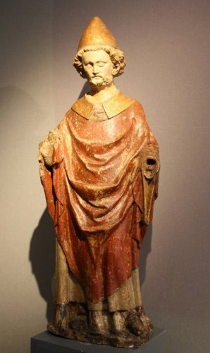 Middle age - A carved stone statue of st Peter, Lorraine (France) late 13th early 14th century