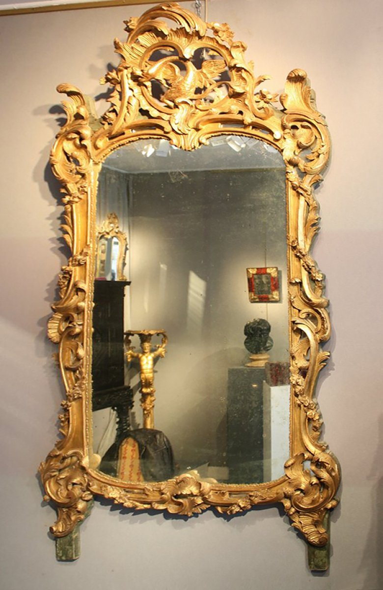 grand miroir en bois dor parecloses d 39 poque xviiie provence. Black Bedroom Furniture Sets. Home Design Ideas