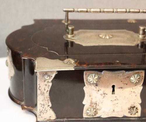 A Dutch colonial silver-mounted tortoiseshell casket, 18th century -