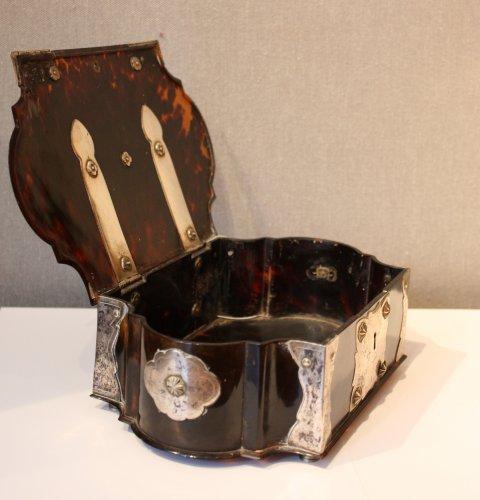 - A Dutch colonial silver-mounted tortoiseshell casket, 18th century