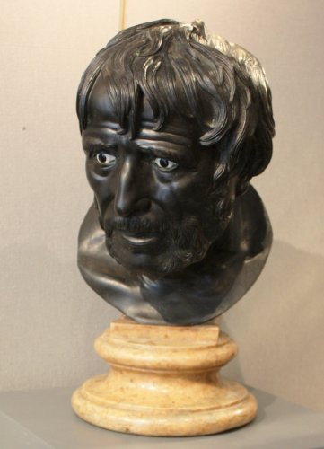An early 19th century Italian bronze bust of Seneca