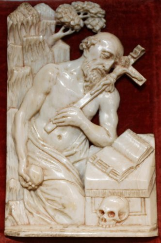 An Italian 16th century carved ivory depiction of St Jerome