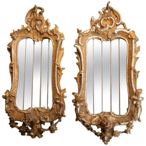 Pair of carved giltwood and silverwood mirrors, Italy, 18th century