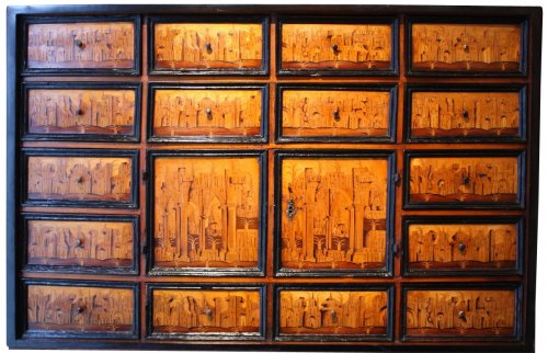 South German marquetry Cabinet, Augsburg early 17th century