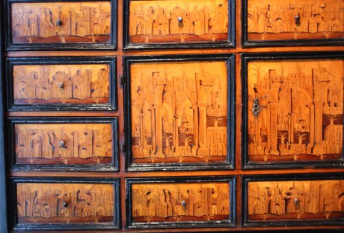 Antiquités - South German marquetry Cabinet, Augsburg early 17th century