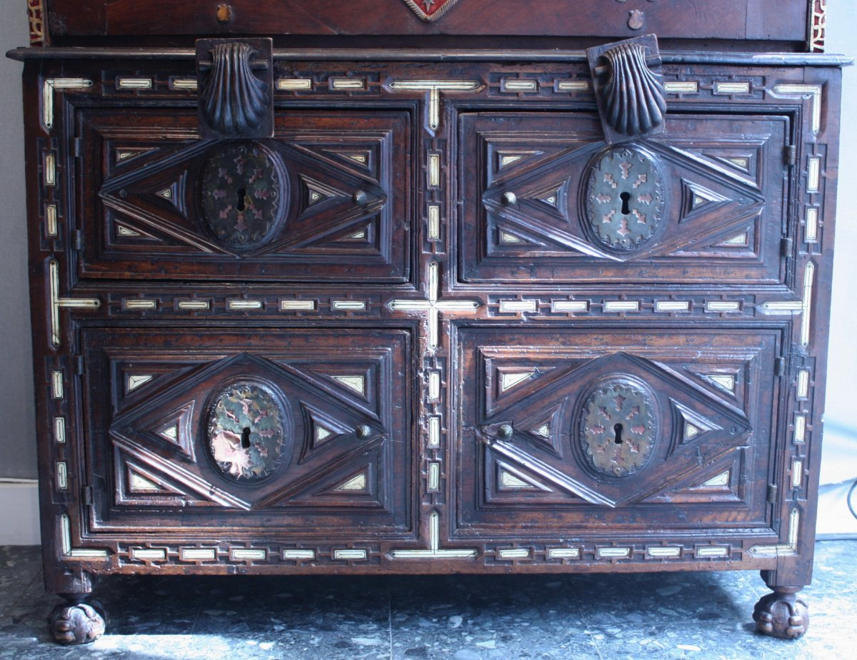 A Late 16th Early 17th Spanish Cabinet Vargueno With Its Chest Of