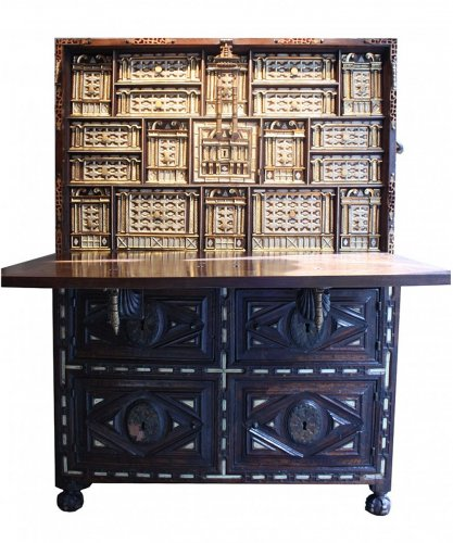 A late 16th early 17th Spanish Cabinet Vargueno with its chest of drawers
