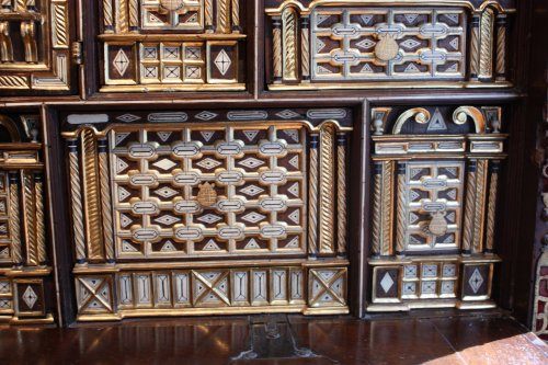 A late 16th early 17th Spanish Cabinet Vargueno with its chest of drawers -
