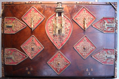 - A late 16th early 17th Spanish Cabinet Vargueno with its chest of drawers
