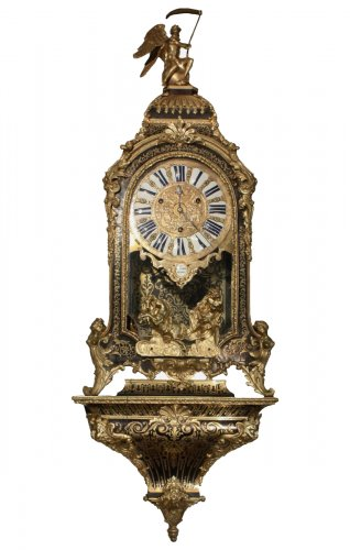 A French Louis XIV Ormolu-Mounted Brass and Tortoiseshell Boulle Marquetry bracket clock