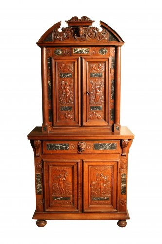 A 16th century walnut marble inlaid buffet deux corps