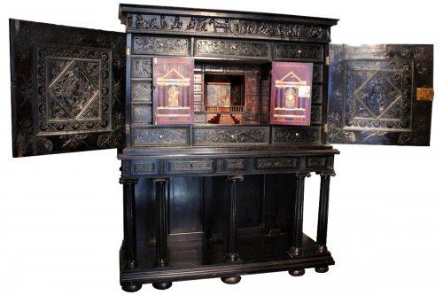 A 17th century carved ebony and ebonized wood cabinet, Paris
