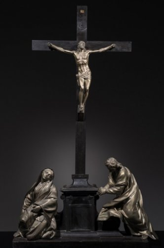 A 17th century Italian silvered bronze crucifixion group