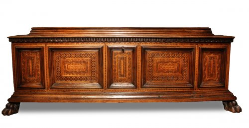 A late 15th century inlaid walnut chest cassone, Florence