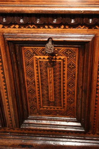 Furniture  - A late 15th century inlaid walnut chest cassone, Florence