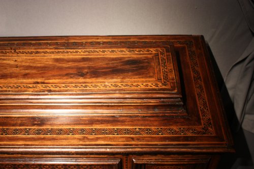 A late 15th century inlaid walnut chest cassone, Florence -