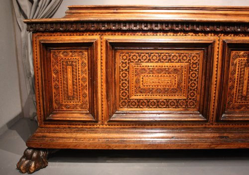 - A late 15th century inlaid walnut chest cassone, Florence