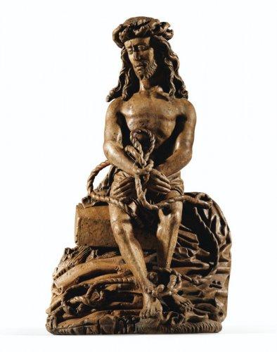 A Flemish 15th century carved walnut bound Christ