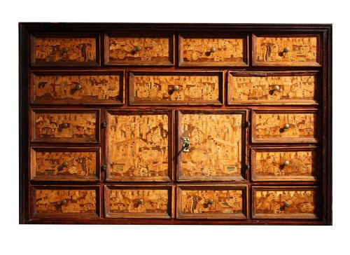 An early 17th century Augsburg South German wood inlaid cabinet