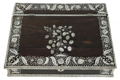 An Anglo-Indian mid 18th century rosewood inlaid writing slope