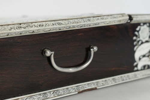 - An Anglo-Indian mid 18th century rosewood inlaid writing slope