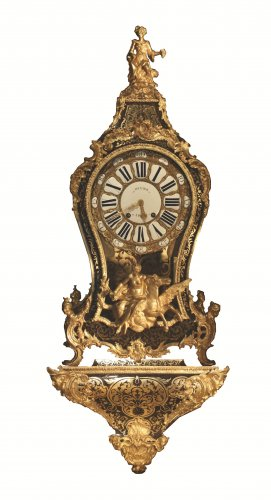 An 18th century Louis XV ormolu mounted Boulle marquetry bracket clock