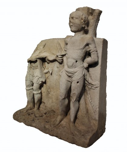 French 16th c. carved stone group of Martyrdom of Saint Sebastian - Sculpture Style