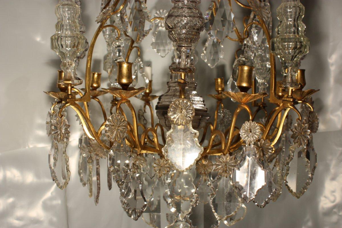 grand lustre cage d 39 poque xviiie en bronze dor et cristaux. Black Bedroom Furniture Sets. Home Design Ideas