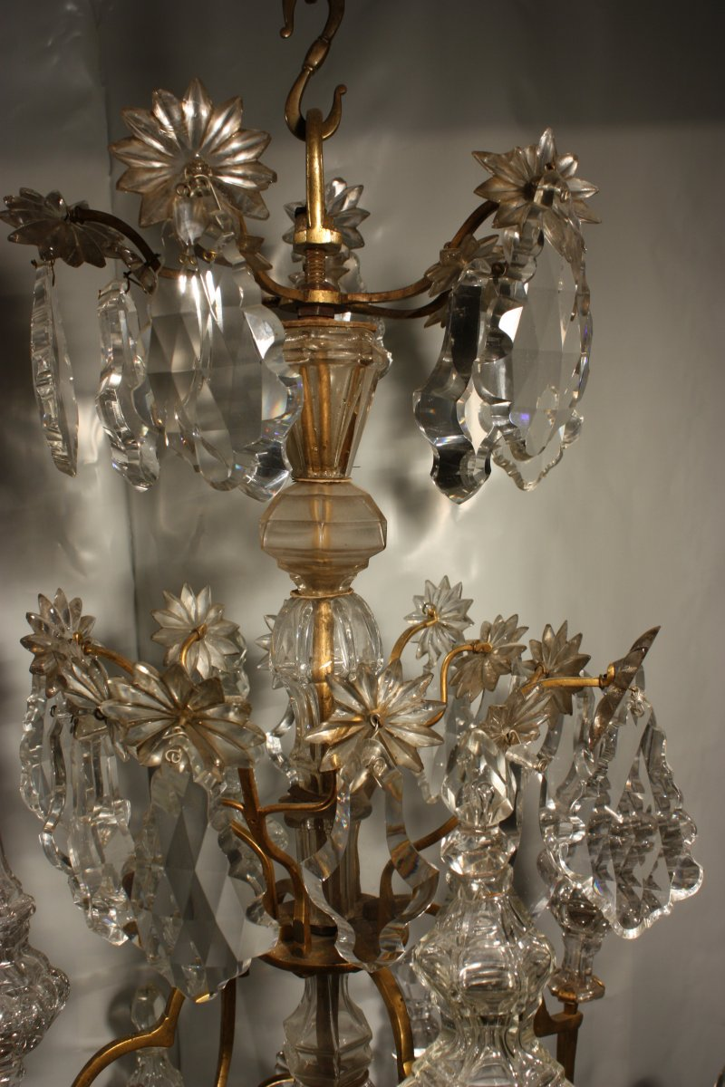 A Louis Xv Mid 18th C Gilt Bronze Mounted Crystal Chandelier Ref