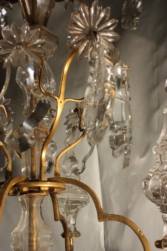 Louis XV - A Louis XV mid-18th c. gilt-bronze mounted crystal chandelier