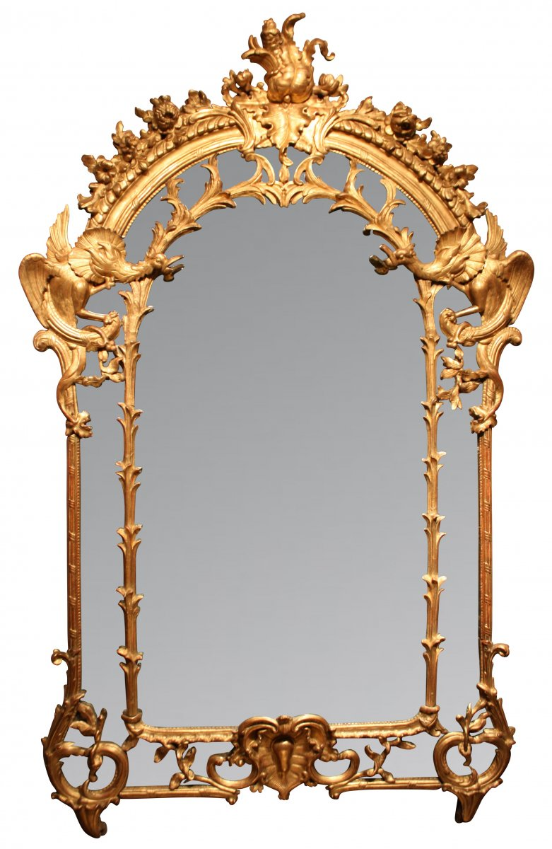 Miroir aux dragons parecloses en bois dor et sculpt for Miroir louis xv