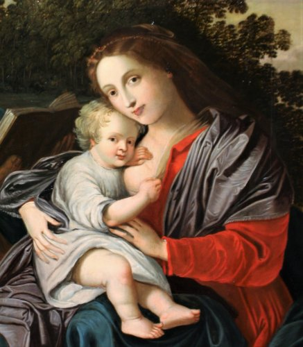 Paintings & Drawings  - The Holy Family, an Antwerp school of the 17th century, a follower of Van Balen