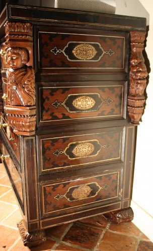 A 19th c. Indo-portuguese ebony and padouk inlaid chest of drawers  -