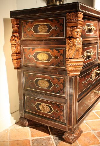 - A 19th c. Indo-portuguese ebony and padouk inlaid chest of drawers