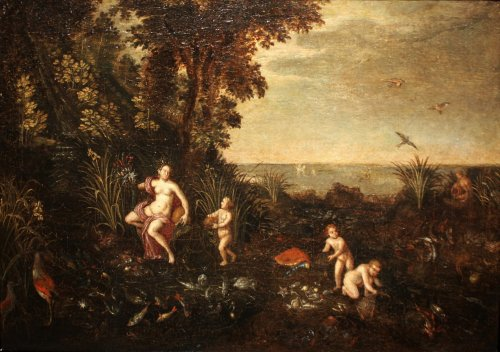 Allegory of water - Flemish school of the 17th, follower of Jan Brueghel