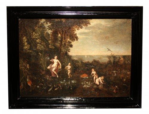 17th century - Allegory of water - Flemish school of the 17th, follower of Jan Brueghel