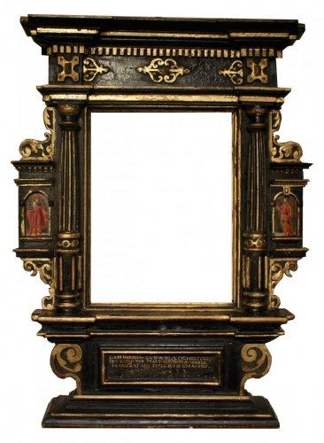A German 17th c. ebonized and gilt wood frame
