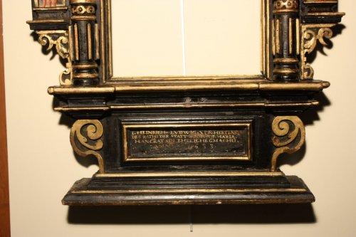 A German 17th c. ebonized and gilt wood frame -