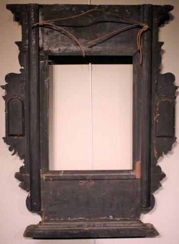 - A German 17th c. ebonized and gilt wood frame