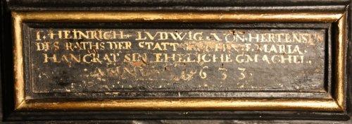 Antiquités - A German 17th c. ebonized and gilt wood frame