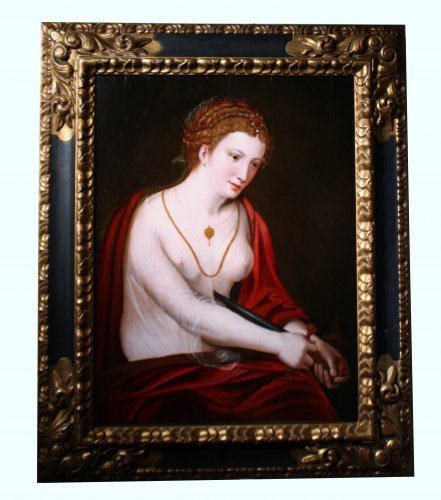 Death of Lucretia, 16th c., attr. to Master of Half-Lengths -