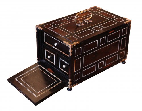 An Italian 17th century ebony and ivory inlaid cabinet